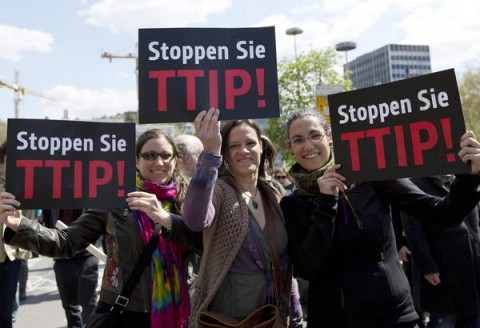 Protest against free trade agreement TTIP